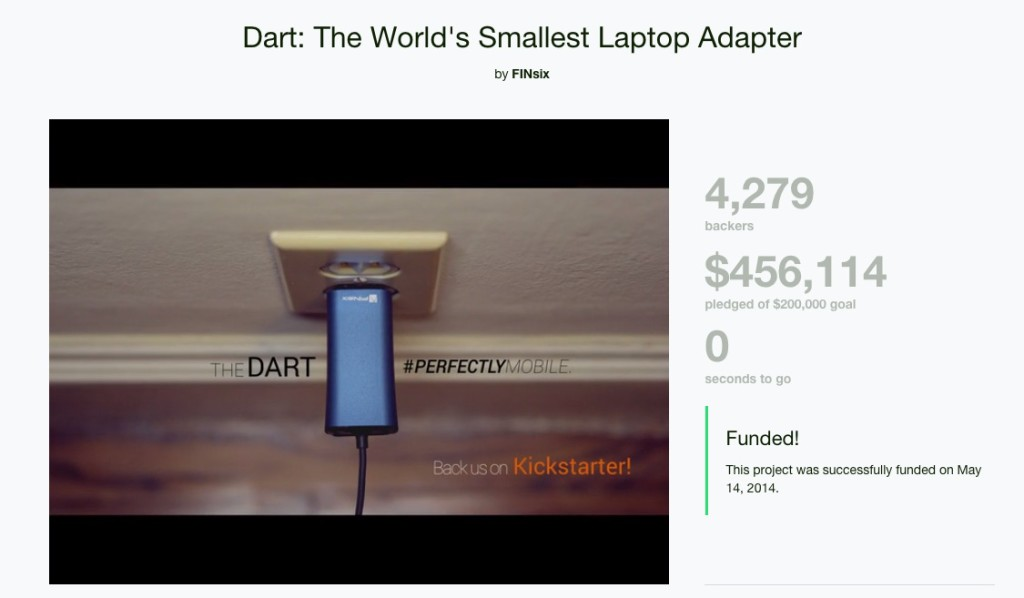 Image capture of Finsix Dart laptop charger on kickstarter